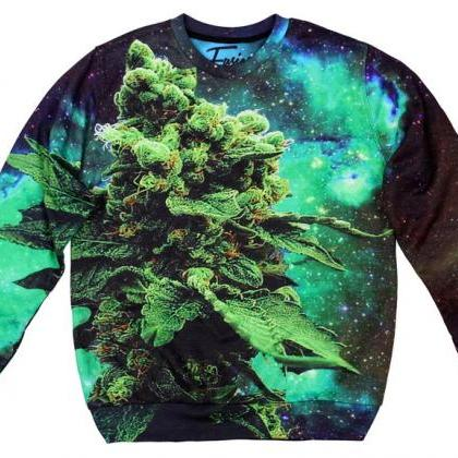 Space Weed Printed Sweatshirt by Fu..