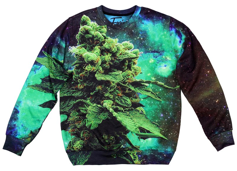 Space Weed Printed Sweatshirt by Fusion