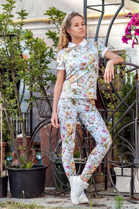 Dijon Rose Printed Leggings by Fusion